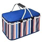 クーラーバスケット クーラーボックス 32L 大容量 クーラーバッグ 折り畳み式 ピクニックバスケット 保温保冷バッグ アウトドア お花見/バーベキュー/釣り/キャンプ/運動会/行楽など適用 (ブルー)