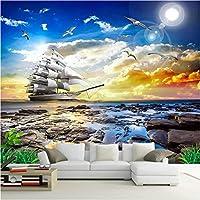 Lixiaoer カスタム3D壁壁画現代の海辺の風景日没ヨット写真壁紙壁布リビングルームの背景の壁の家の装飾-350X250Cm