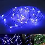 KAPATA LEDストリングライト 防水 10m100球 点灯2パターン ブルー ソーラー 庭園 ガーデンライト 装飾/クリスマス