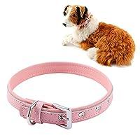 Vivavast 犬用首輪 愛犬用高級本革製首輪 シンプルでオシャレ 5穴調節可能 S/M/L 3サイズ選択 5色選択