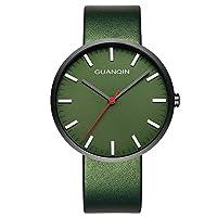 GUANQIN 腕時計 アナログ スイス人 クオーツ メンズ 人気 ブランド ステンレススチールと本革 ビジネス 時計 防水 おしゃれ ユニークデザイン ウォッ (グリーン)