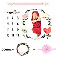 CAVN Monthly Baby Milestone Blanket Photo Props Shoots Backdrop (Headband and Leaf-like Frame Included), Reusable Infant Baby Swaddling Blanket for Photography [並行輸入品]