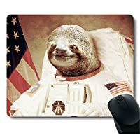 funy sloth dress as a astronaut personality mouse pad unique design