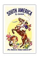 クリッパーによって南米 - パンアメリカン航空 - Boleadorasとアルゼンチンガウチョ - ビンテージな航空会社のポスター c.1950s - アートポスター - 76cm x 112cm