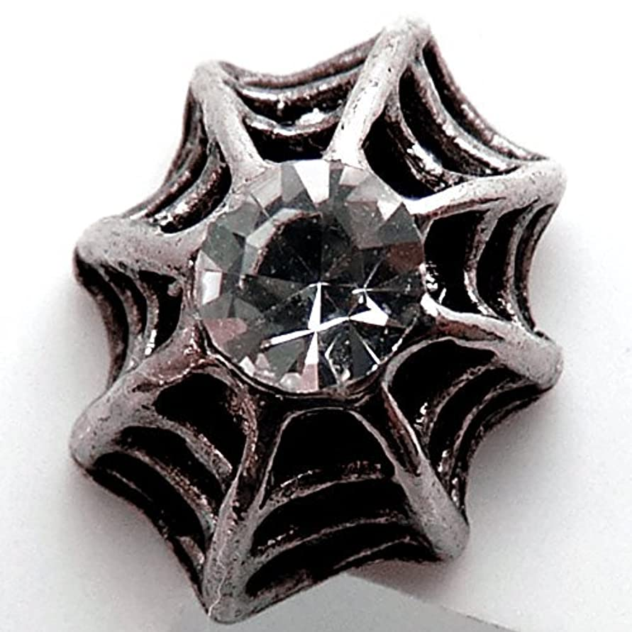 ファッションそれから資料[ソリッド]solid クモの巣 スパイダー シルバーカラー スタッド ピアス メンズ[solid-vvcp74]