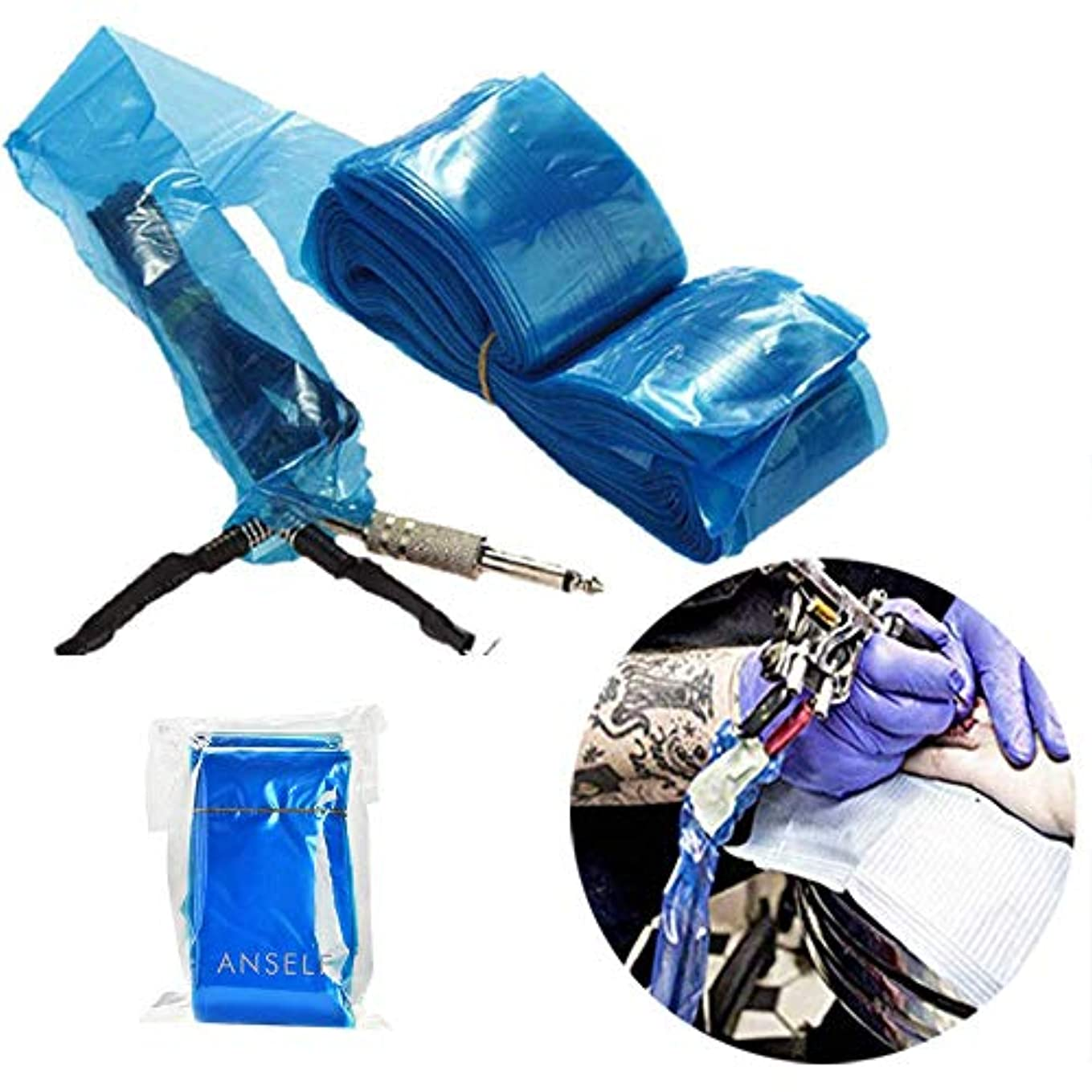スキム性的製品Decdeal タトゥークリップカバー タトゥー用品 タトゥーマシンプラスチック用使い捨てカバー 100Pcs