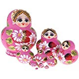 Prettyia Pink Flower Girls Printed Russian Nesting Dolls Babushka Matryoshka Kids Wooden Toys