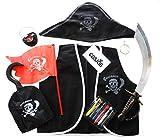 Cosjob 海賊衣装 (帽子 チョッキ 剣 フック イヤリング 眼帯 旗) フェイスペイント6色付き8点セット (A172)