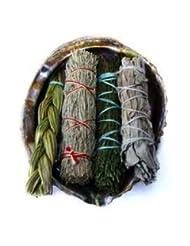 Offerings SmudgeキットIncludes Large Abaloneシェル、Sweetgrass三つ編み、ホワイトセージ、砂漠セージ、CedarセージSticks Plus砂