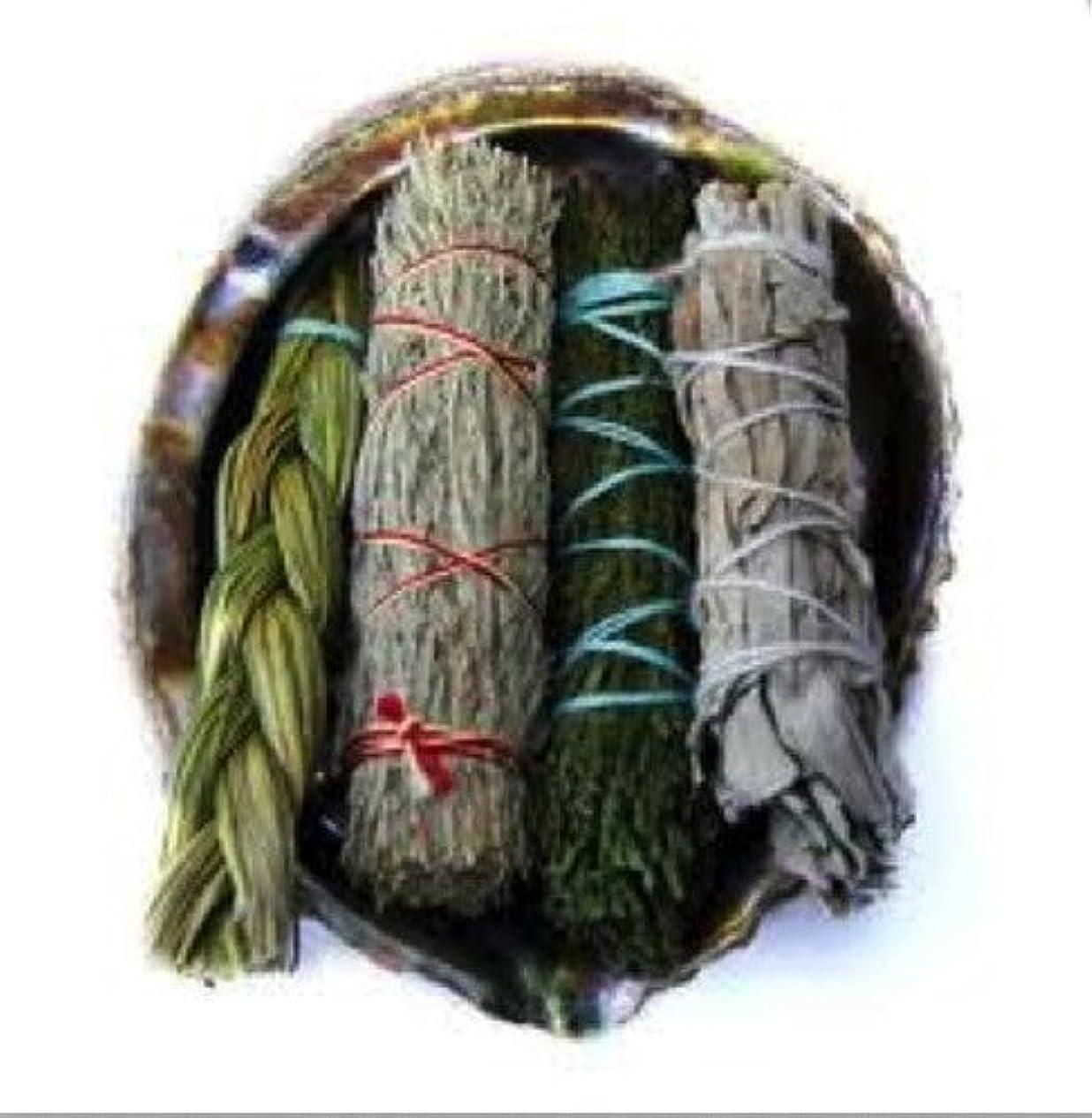 改善するサスティーン仲間、同僚Offerings SmudgeキットIncludes Large Abaloneシェル、Sweetgrass三つ編み、ホワイトセージ、砂漠セージ、CedarセージSticks Plus砂