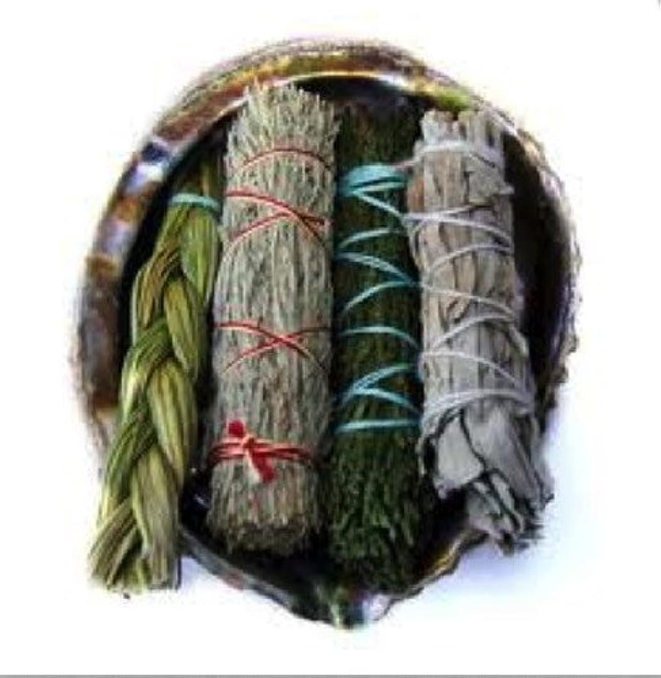 教科書勝利したトランスミッションOfferings SmudgeキットIncludes Large Abaloneシェル、Sweetgrass三つ編み、ホワイトセージ、砂漠セージ、CedarセージSticks Plus砂