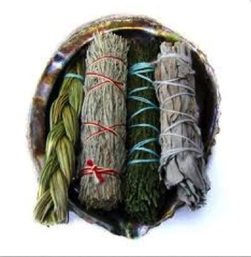 軽量応じる証人Offerings SmudgeキットIncludes Large Abaloneシェル、Sweetgrass三つ編み、ホワイトセージ、砂漠セージ、CedarセージSticks Plus砂