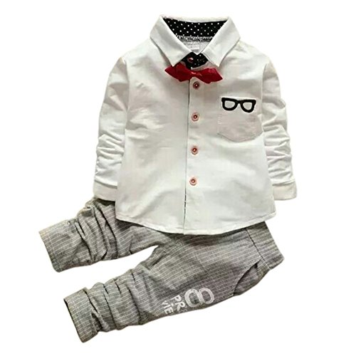 (ベビーゴー)babygo子供服長袖ポロシャツ&パンツ2点セット子供用スーツ男の子セットアップ結婚式発表会七五三入学式ホワイト90