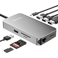 USB Type C ハブ 4K HDMI 有線LAN SDカードリーダー PD充電機能 変換アダプタ、9 in 1 USBC Hub with 4K HDMI 高解像度、1Gbps Lan Ethernet、PD充電機能、SD/Micro SDカードリーダ、4つの高速転送USB3.0ポート 対応 MacBook Pro 2018/2017, MacBook Air 2018, Surface Go, Lenovo Yoga 920 ...