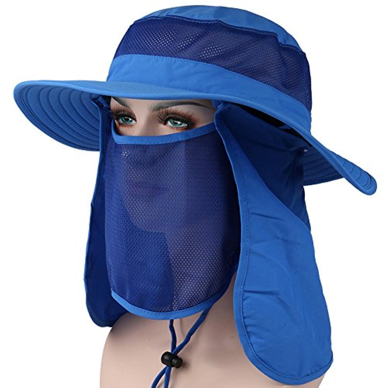 スリップシューズ柱ブームHapee UPF 50 +夏アウトドア太陽保護Wide Brimキャップ取り外し可能メッシュネック面フラップ釣りFarmer Gardener帽子
