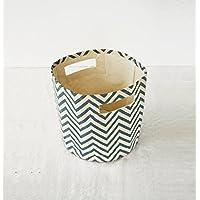 Blue Canvas basket, chevron print, storage basket, fabric bin, sizes available (12x14)