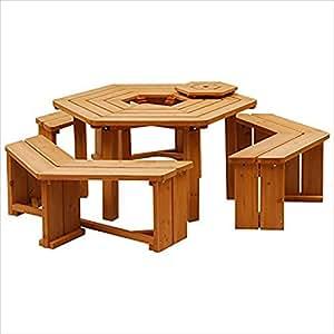 山善(YAMAZEN) ガーデンマスター BBQパティオ テーブル&ベンチ(4点セット) HXT-135SBR ブラウン