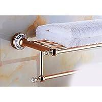 DACHUIバスルームタオルラックバスルームクリスタルスチールセラミックローズゴールドダブルカラーのチューブロッド