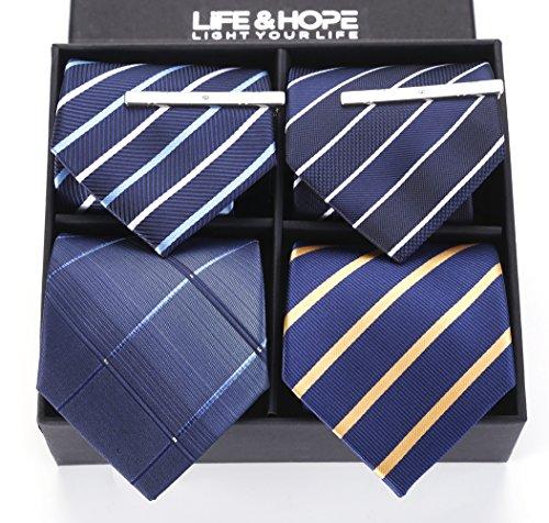 ネクタイ LIFE&HOPE メンズ 洗える ビジネス ネクタイ フォーマル ネクタイ 4本 セット 収納BOX 付き 結婚式 プレゼント (04)