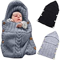 Colorful Newborn Baby Wrap Swaddle Blanket Oenbopo Baby Kids Toddler Knit Blanket Swaddle Sleeping Bag Sleep Sack Stroller Wrap for 0-12 Month Baby (Grey) [並行輸入品]