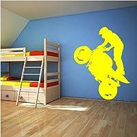 Wuyyii 57×72センチエクストリームスポーツオートバイライダー立ちビニールステッカーアート壁画壁デカール飾るリビングルームの壁紙B