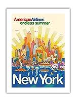 ニューヨーク - アメリカン航空 - 無限の夏 - ビンテージな航空会社のポスター によって作成された ハリー・ヴェンツィンガー c.1971 -プレミアム290gsmジークレーアートプリント - 46cm x 61cm