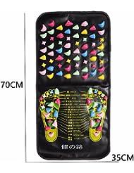 健康足つマット, 足ツボ 刺激, 模造石畳の歩道室内運動, マッサージ 足裏 健康 ツボ刺激, 足のマッサージブランケット, 模造ペブルのマッサージパッド指圧板 (70CM*35CM)