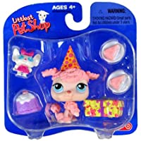 Hasbro Year 2005 Littlest Pet Shop Exclusive Single Pack Series Bobble Head Pet Figure Set - Birthday Pink POODLE with B'Day Hat, Mouse Toy, 2 Plates with Cake, Gift-Box and Cupcake (22793) by Hasbro [並行輸入品]