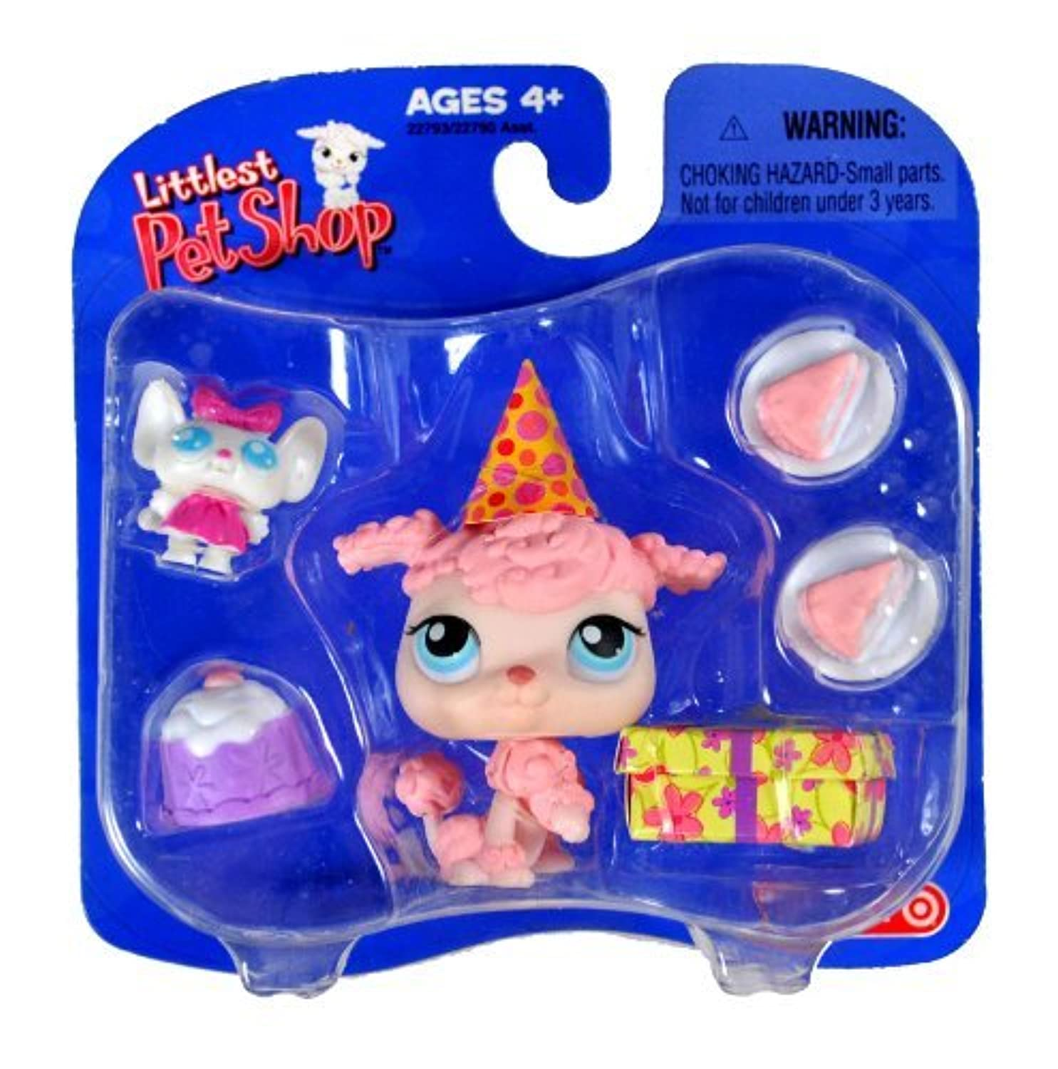 Hasbro Year 2005 Littlest Pet Shop Exclusive Single Pack Series Bobble Head Pet Figure Set - Birthday Pink POODLE with B'Day Hat,