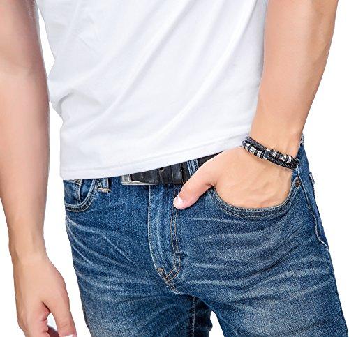 Jstyle[ジェイスタイル] ブラック メンズ レザー ブレスレット 腕輪 アクセサリー ステンレス製 20.5cm