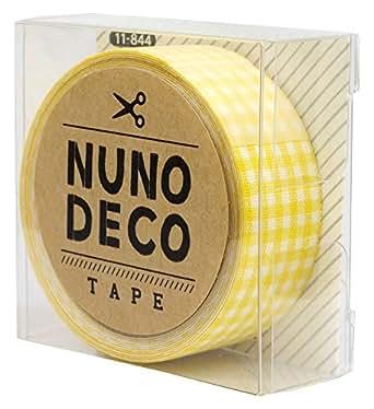KAWAGUCHI(カワグチ) NUNO DECO TAPE ヌノデコテープ 1.5cm幅 1.2m巻 きいろチェック 11-844