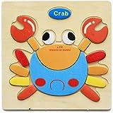 木製の3Dパズルジグソーパズル子供子供漫画の動物知能教育玩具 - カニ#