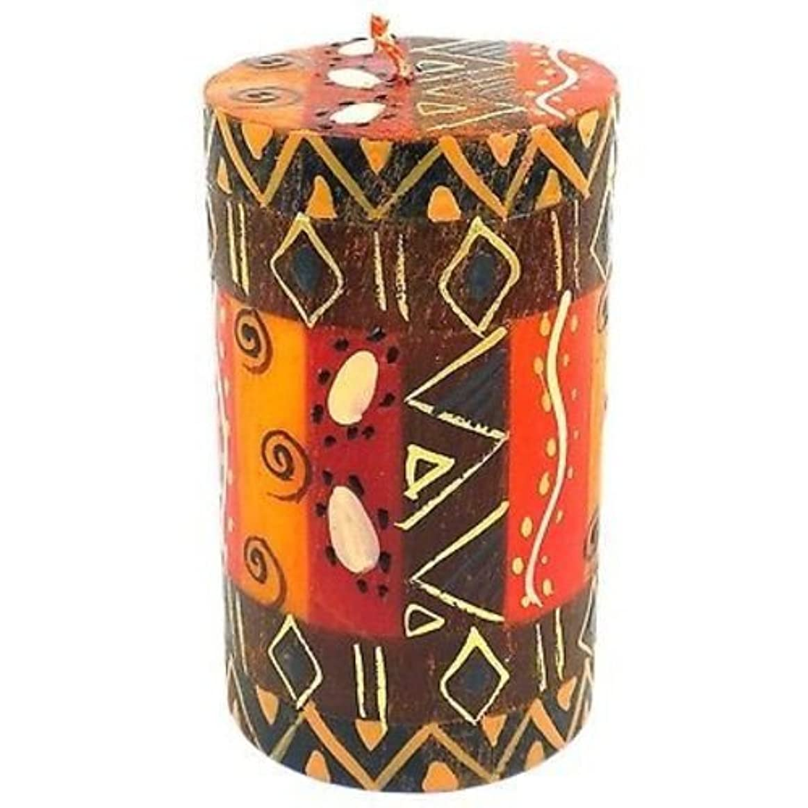 環境に優しい疲れた半島Nobunto Single Boxed Hand-Painted Pillar Candle - Bongazi Design