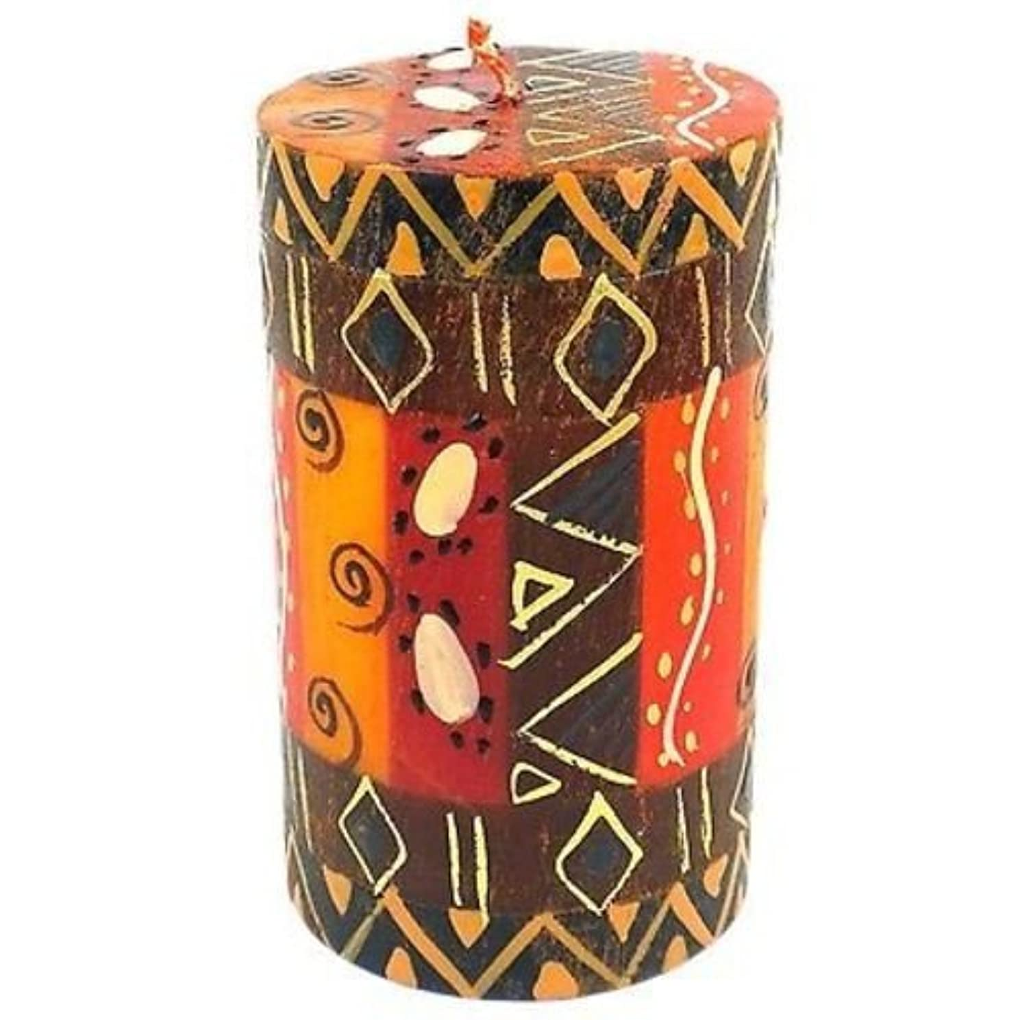 姉妹固体広々としたNobunto Single Boxed Hand-Painted Pillar Candle - Bongazi Design