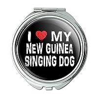 I 愛マイニューギニアの歌犬スタイリッシュなコンパクト財布ミラー