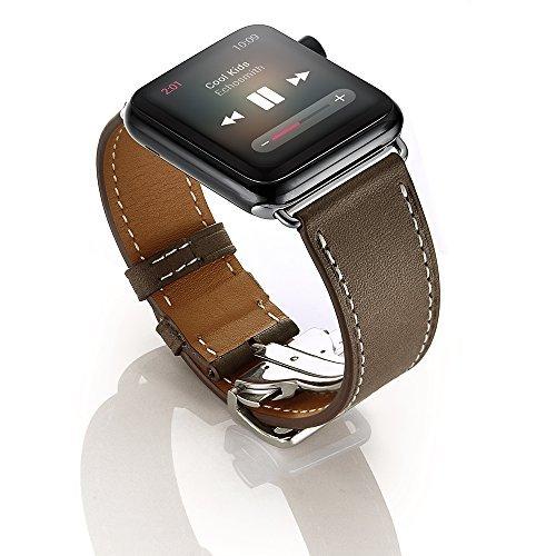 EloBeth Apple Watch バンド 本革ベルト スマートウォッチ for Apple Watch Series 3&2&1 (38mm コーヒー)