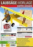 3D Laubsaegevorlage Doppeldecker: Laubsaegevorlage fuer einen Doppeldecker aus hochwertigem 3mm Pappelsperrholz.