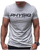 MANATSULIFE メンズ トレーニングウェア Tシャツ ストレッチ 半袖 スポーツシャツ 筋トレ フィットネス DT-29 (ライトグレー, L)