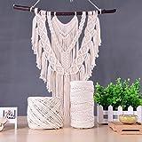 手作りコットン糸 編み 天然コード 紐 綿糸ロープ コットンひも 手芸 インテリア 壁飾り 壁掛け アクセサリー DIY 製作 (3mm x 100m) 画像