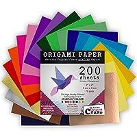 ミニ折り紙200枚、2インチ正方形、20色鮮やかな色、両面同じ色、アートとクラフトのためのプレミアム品質、100デザイン電子書籍付属(カバーの裏をご覧ください)