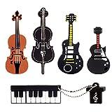 LEIZHAN 5x8GB USBフラッシュドライブ楽器USB 2.0メモリースティックPendrive(イエローギター、レッドギター、チェロ、ヴァイオリン、ピアノ)