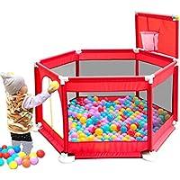 フェンスベイビーゲームフェンスシンプルなクロール幼児フェンス海洋ボールプール屋内遊び場おもちゃの家 (Color : Red, Size : 129 * 129 * 66cm)