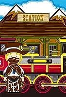lfeey 8x 10ft Cartoon Wild West CowboyパーティのBackdropファンタジーWestern Cowboy Hatハンドガンwith Six Shooter Luxury Steam Train Station Locomotive背景forキッズ誕生日パーティーイベント壁紙