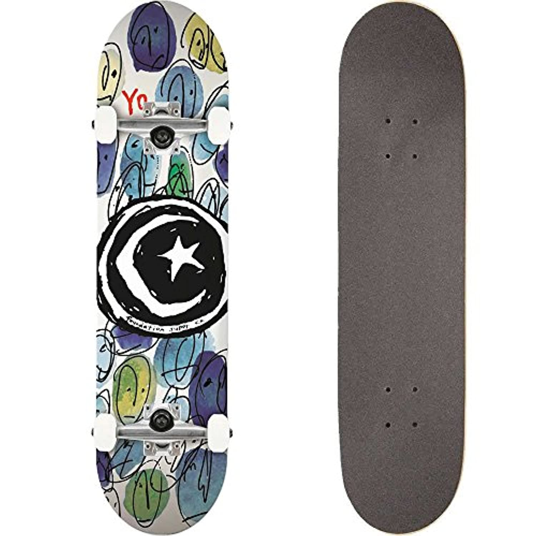 FOUNDATION(ファンデーション) スケートボード コンプリート (完成品) STAR & MOON YO COLOR 【高品質パーツ使用 ブランド純正品】 スケボー C18009 (8 x 31.5)