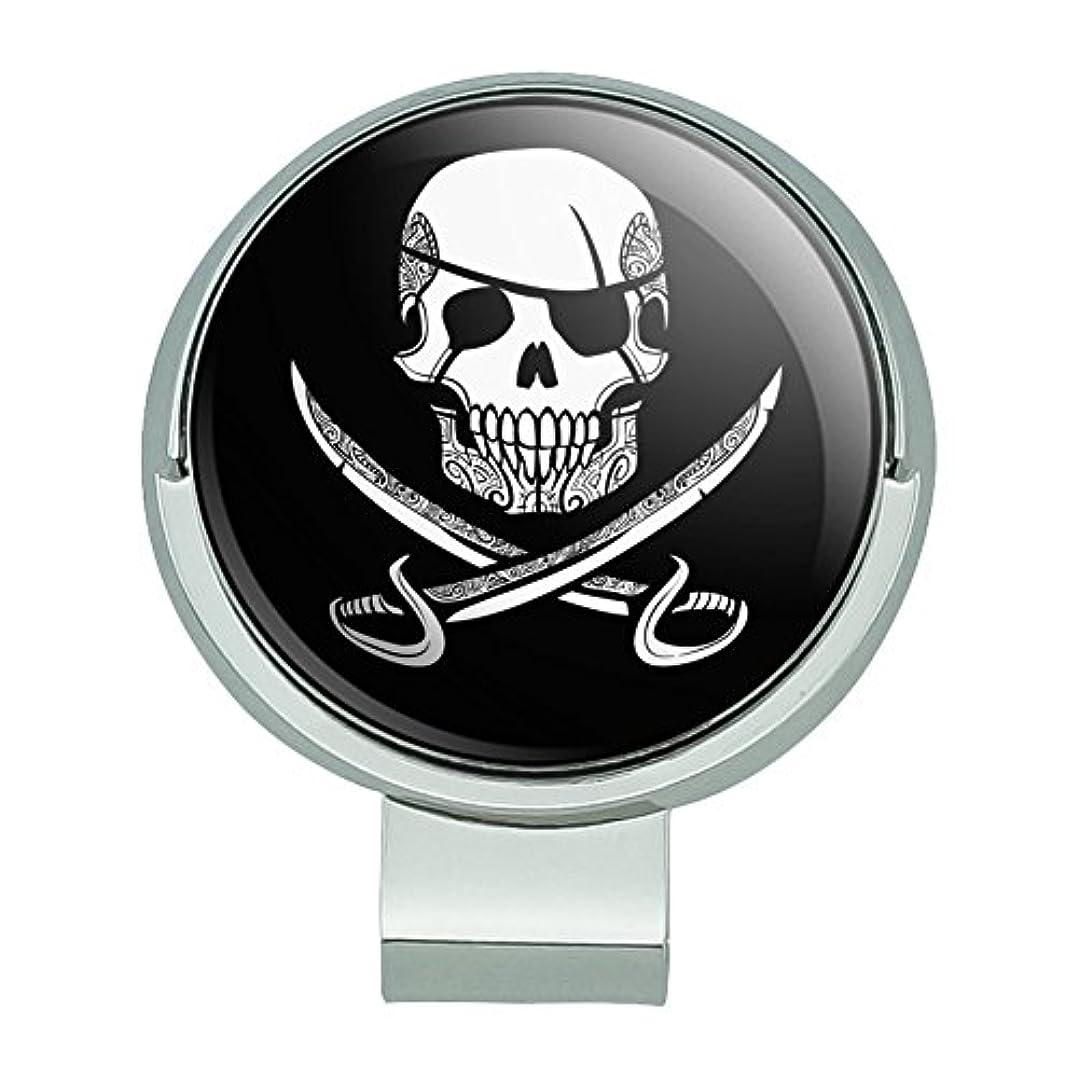 資金カバレッジ業界海賊の頭蓋骨交差刀の入れ墨のデザイン磁気ボールマーカー付きゴルフハットクリップ