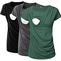 Jinson 3 Packs Women's Ruched Side-Shirred Nursing Top Short Long Sleeve Breastfeeding Tee Shirt