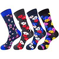 Men's Fashion Colorful Fun Design Casual Cotton Dress Crew Socks 4 Pairs