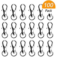 Hysagtek 100 Pcs Swivel Snap Hooks Lobster Claw Clasp Lanyard Clips Hooks Key Rings for Crafts Jewellery Making Findings
