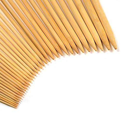 LIHAO 手あみ針 玉付2本針 棒針セット 竹製 長さ25cm 36本 18サイズ 2.0㎜から10.㎜まで