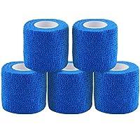 テーピングテープ キネシオ テープ テーピング 自着性テープ 不織布 伸縮性&通気性 エラスチックバンデージ 筋肉?関節サポート 弾性包帯 汗に強い 5巻入 4.5m/巻